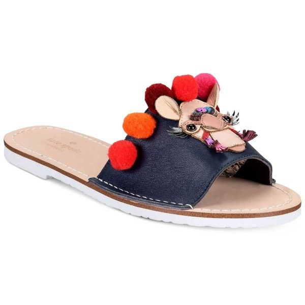 kate spade new york Idelphia Flat Sandals (1.465.970 IDR) ❤ liked on Polyvore featuring shoes, sandals, navy, navy blue flat sandals, pom pom sandals, pom pom flat sandals, flat sandals and navy blue shoes
