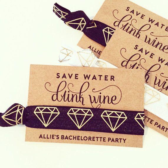 Wine Tour Bachelorette Hair Tie Favor | Black + Gold Hair Tie Favor, Black…