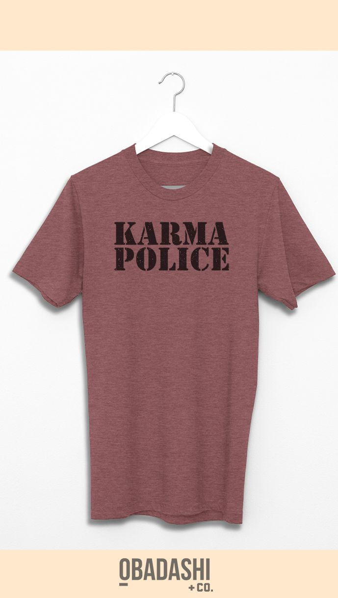 A Radiohead classic, Karma Police is a Rock essential -  now transposed into one of our Graphic Tees  GET IT HERE: https://www.etsy.com/listing/506082764