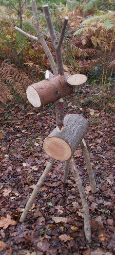 Rustic Stag, Large Woodland Log Deer, Reindeer, GreyBrown 100cm tall