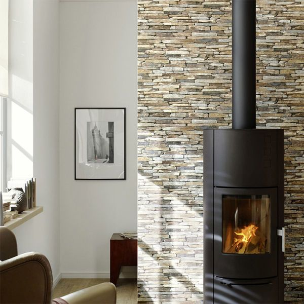 Stone Slate Reclaimed wall Brick Effect Wallpaper, Grey, Yellow & Beige Tones #Wallpaper