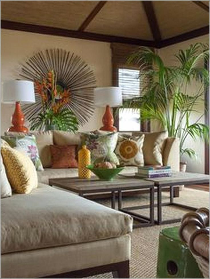 7 Most Popular Hawaiian Themed Living Rooms 2019 Pillow Diy Tropical Home Decor Tropical Living Room Hawaiian Home Decor