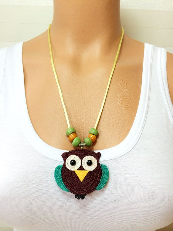 Hallowen Crochet Owl Necklace Knitted Necklace by NinnisGift