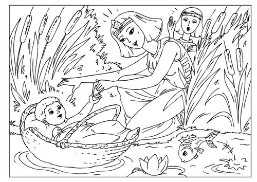 Miriam And Baby Moses Coloring Page
