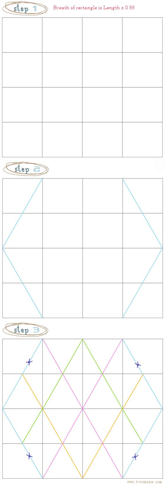 how to draw a hexagon for a geometric box or geoball.