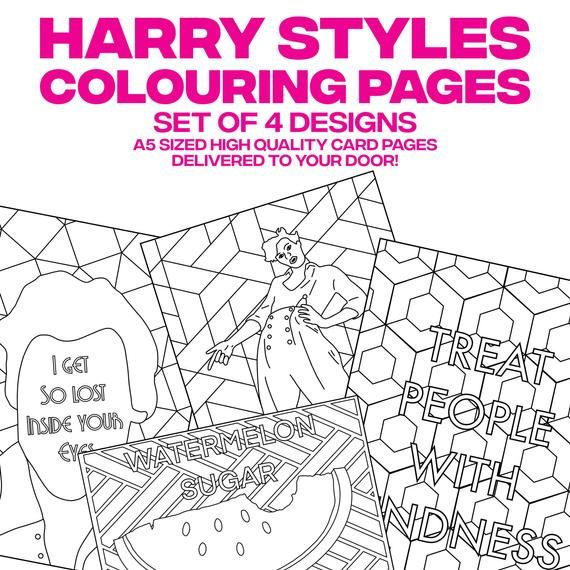 Harry Styles Inspired Colouring Pages Set Of 4 X A5 Cards Etsy Colouring Pages Quote Coloring Pages Harry Styles