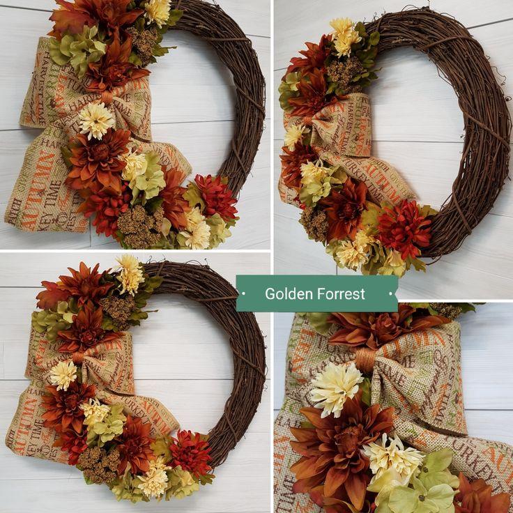 Fall Grapevine Wreath.  #goldenforrest #goldenforrestcreations #wreath #grapevine #fall #flowers #bow #wreathidea #doordecor