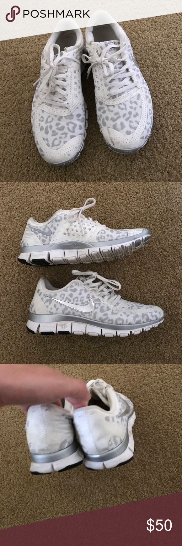 White leopard Nike free 5.0 Very hard to find white leopard Nike frees! Slightly worn but just need a cleaning and will be great! Nike Shoes Sneakers
