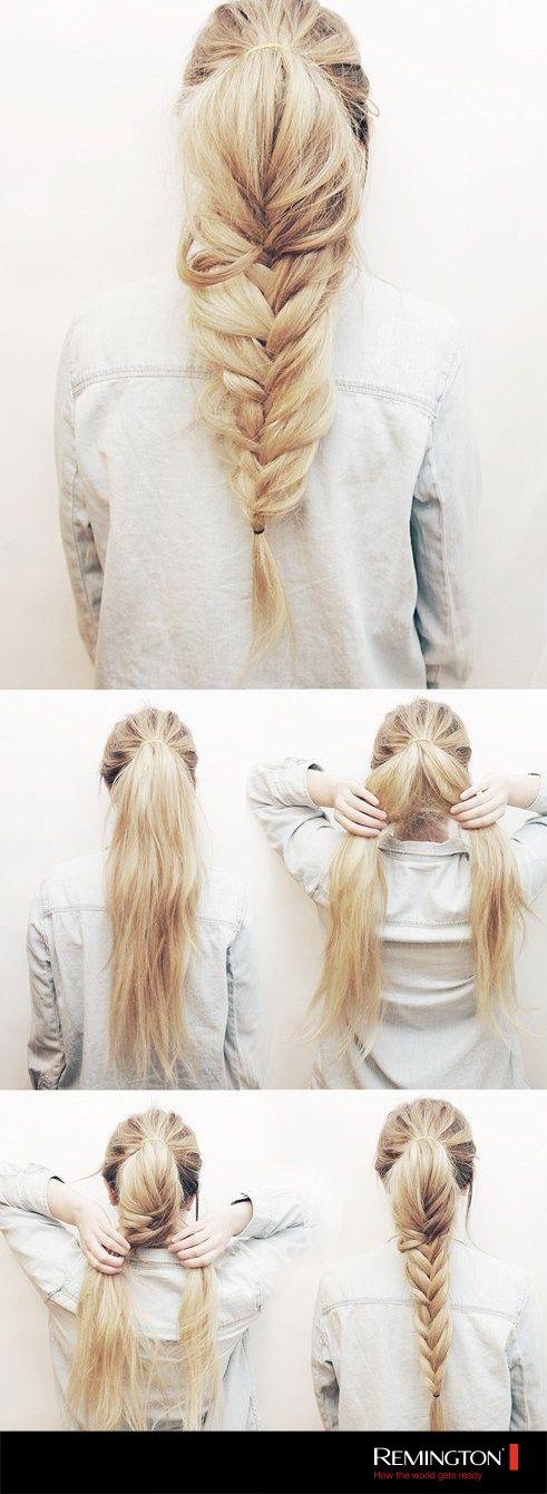 Una trenza de cola de sirena es discreta, elegante y tendrá tu cabello siempre en su lugar.