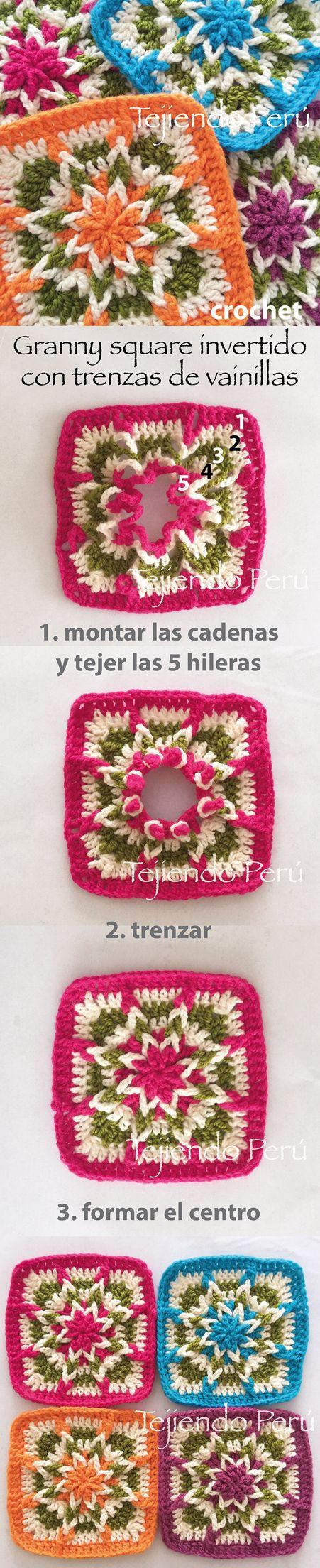 Crochet: granny square invertido!  Se empieza a tejer desde el borde y se termina en el centro formando una linda flor!  Vídeo tutorial del paso a paso ༺✿ƬⱤღ✿༻