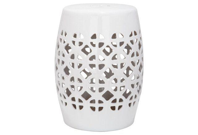 Janera Ceramic Garden Stool, White