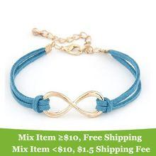 Moda pulsera Infinito Ocho brazalete pulsera pulsera de cuero joyería de cruz! tienda cristalina(China (Mainland))