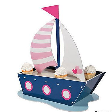 Nautical Sailboat Cupcake Stand/Holder; Girls Nautical Birthday Party; Girls Nautical Baby Shower; Table Centerpiece; Nautical Decorations by SimplyCreatedForYou6 on Etsy