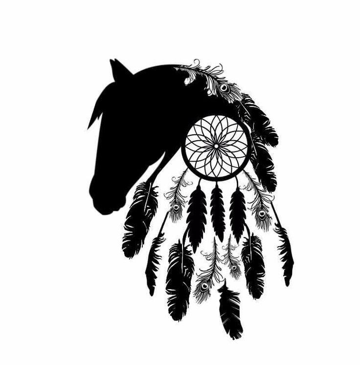 Horse Silhouette & Dream Catcher Outline Black White Feathers Tattoo design @shontishar