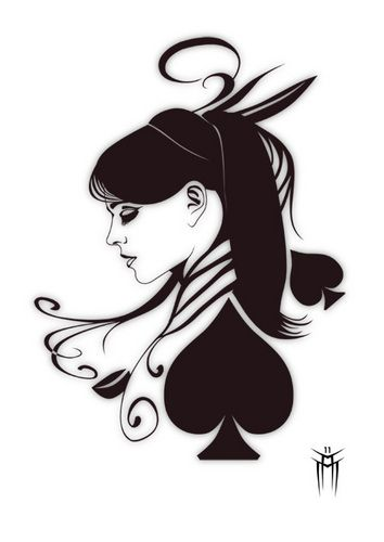 Queen of hearts tattoo idea but with hearts. Probably red hearts and the rest black.