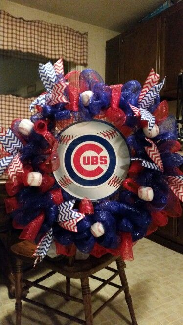Chicgo Cubs Mesh Wreath TheresaBling on Etsy to order
