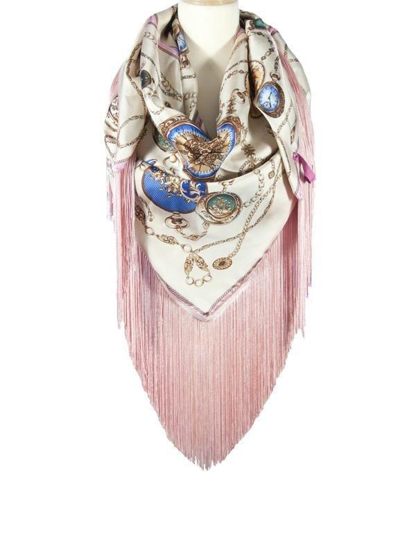 Zijde sjaal met lange franjes Berlin Klokken roze