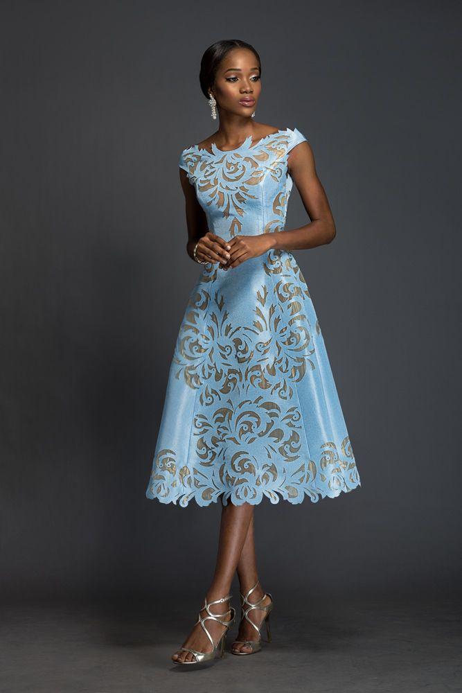 SOPHIA Alice blue Aso-oke, A-line dress patterned with Komole Kandids Nectar motif.