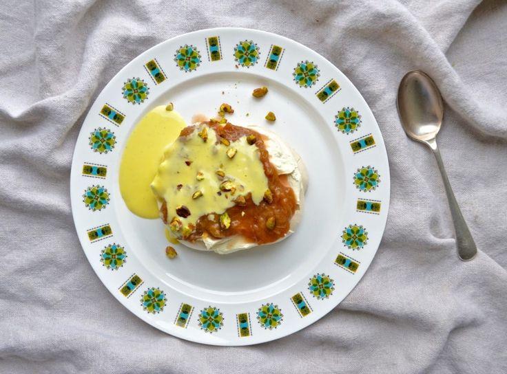 Rhubarb & Cardamom Pavlova with Creme Anglaise