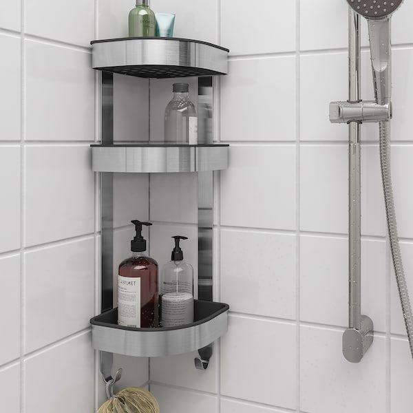 Brogrund Corner Wall Shelf Unit Stainless Steel 7 X22