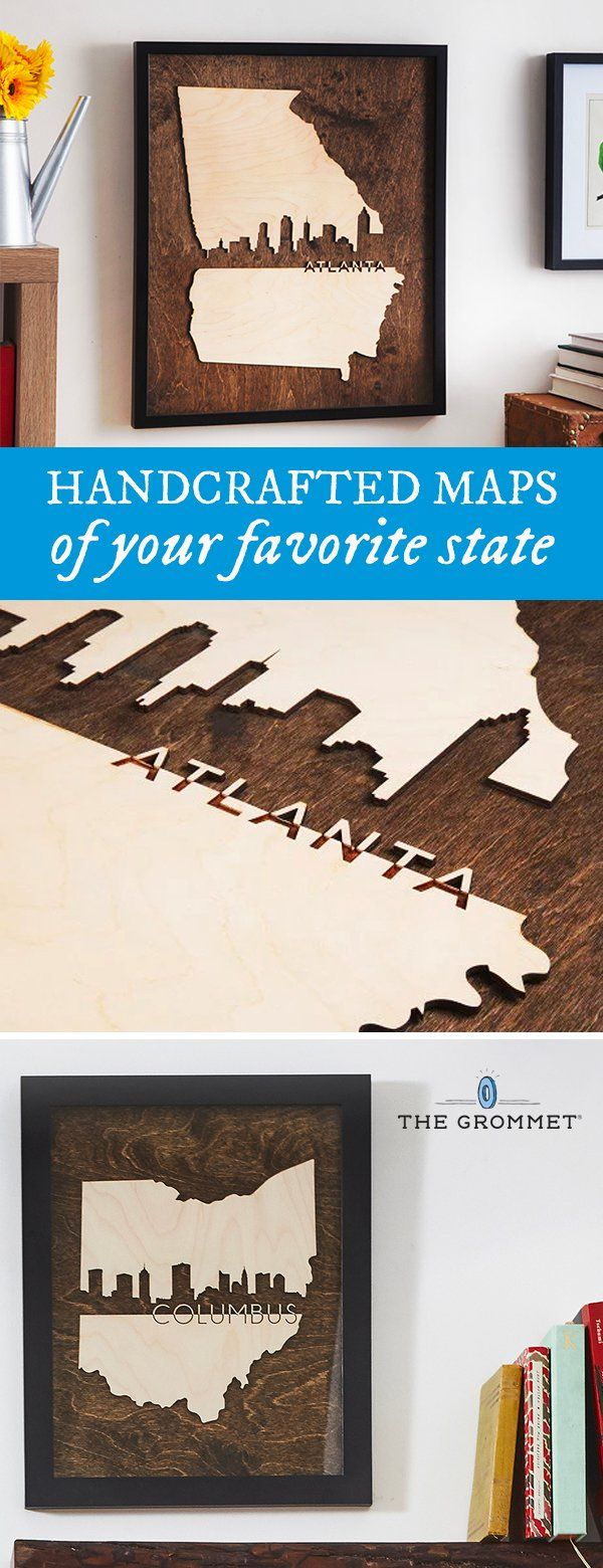 Pay tribute to your state with handcrafted state art pieces made from a mixture of new and reclaimed wood. Made in the USA by three sisters.