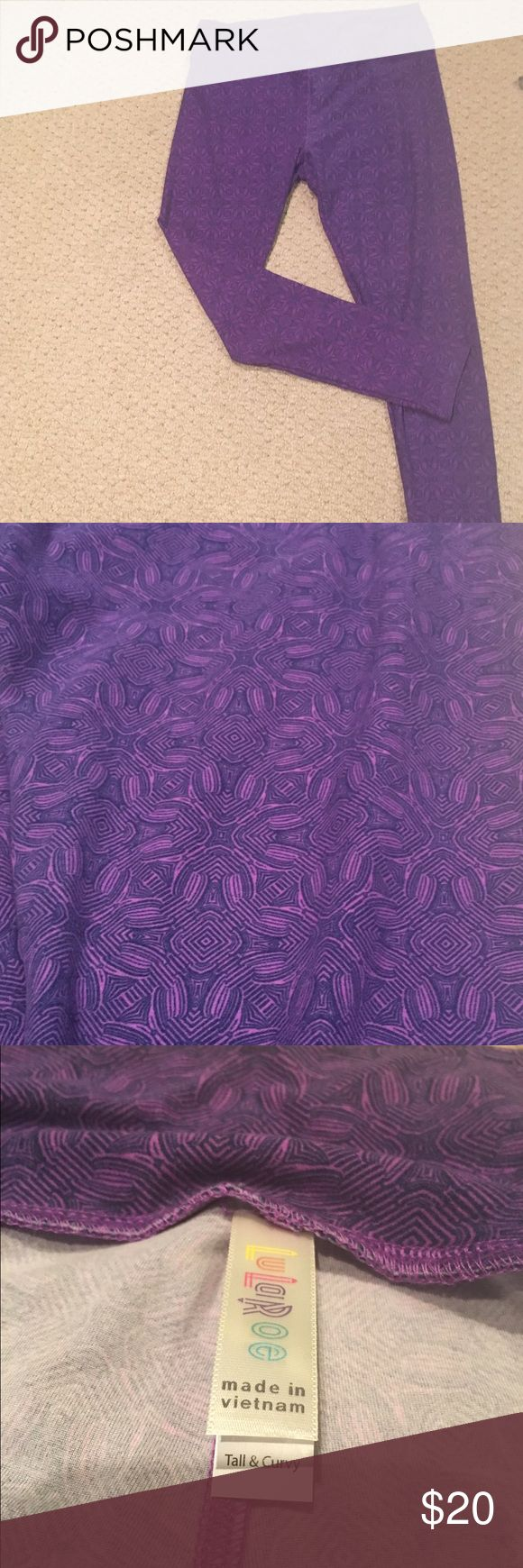 "LulaRoe Tall and Curvy Purple Leggings These famed ""buttery"" leggings have only been worn once for about 2 hours.  They are great for curvy or over 5' 7"" ladies.  This purple pattern looks great will tons of tops. The model pic leggings are different, but there to show you styling options! LuLaRoe Pants Leggings"