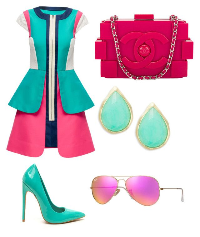 """""""Untitled #13"""" by samantha2nazaret on Polyvore featuring Lattori, Chanel, Karen Kane and Ray-Ban"""