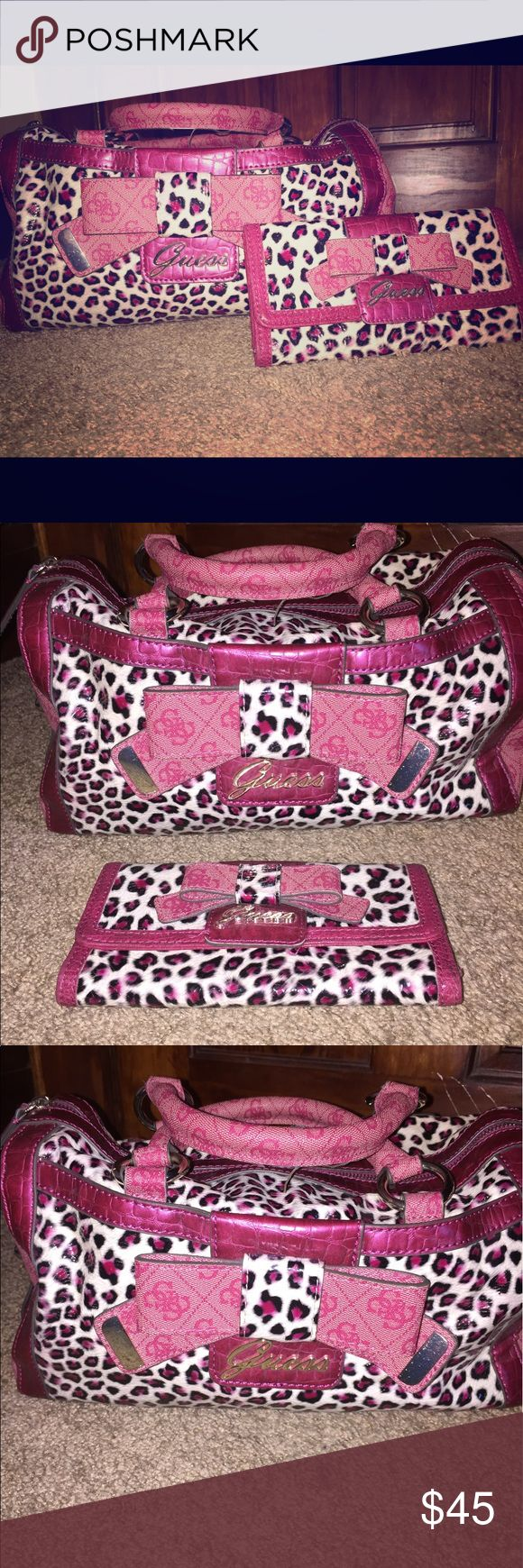 GUESS Purse and Wallet SET - pink/ white leopard GUESS Purse and Wallet SET - pink/ white leopard print, LARGE 💼 wallet to match, great condition, small stain in interior, MAKE AN OFFER :) Guess Bags Shoulder Bags