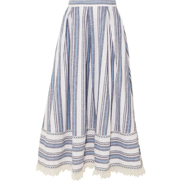 Gül Hürgel Lace-trimmed striped cotton and linen-blend skirt found on Polyvore featuring skirts, inverted pleat skirt, a-line skirt, striped a line skirt, striped skirts and lace trim skirt