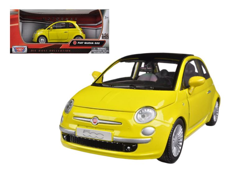 Fiat 500 Nuova Yellow 1/24 Diecast Car Model by Motormax - Brand new 1:24 scale diecast model car of Fiat 500 Nuova Yellow die cast car model by Motormax. Brand new box. Rubber tires. Detailed interior, exterior. Has opening hood and doors. Made of diecast with some plastic parts. Dimensions approximately L-6, W-3, H-3 inches. Please note that manufacturer may change packing box at anytime. Product will stay exactly the same.-Weight: 2. Height: 6. Width: 11. Box Weight: 2. Box Width: 11. Box…
