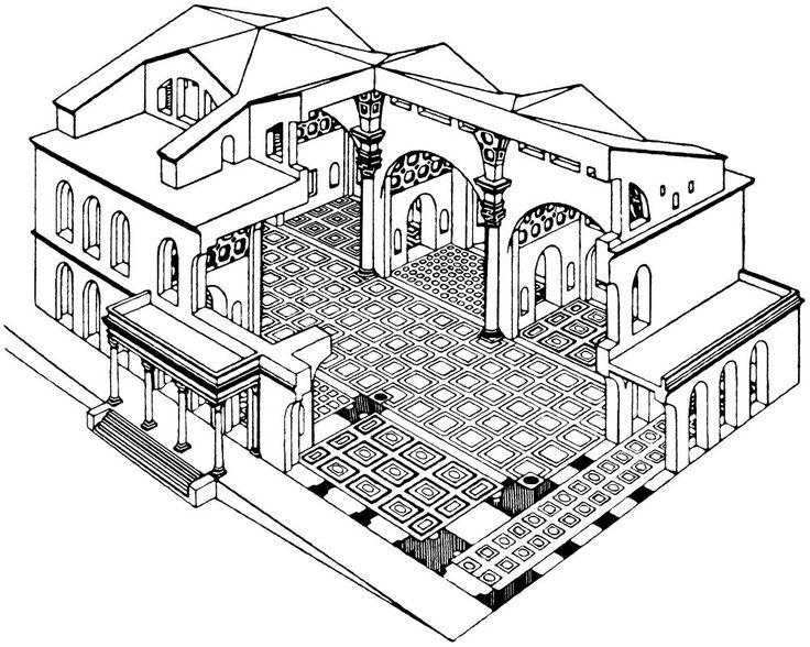 reconstructietekening van de basilica van maxentius in rome