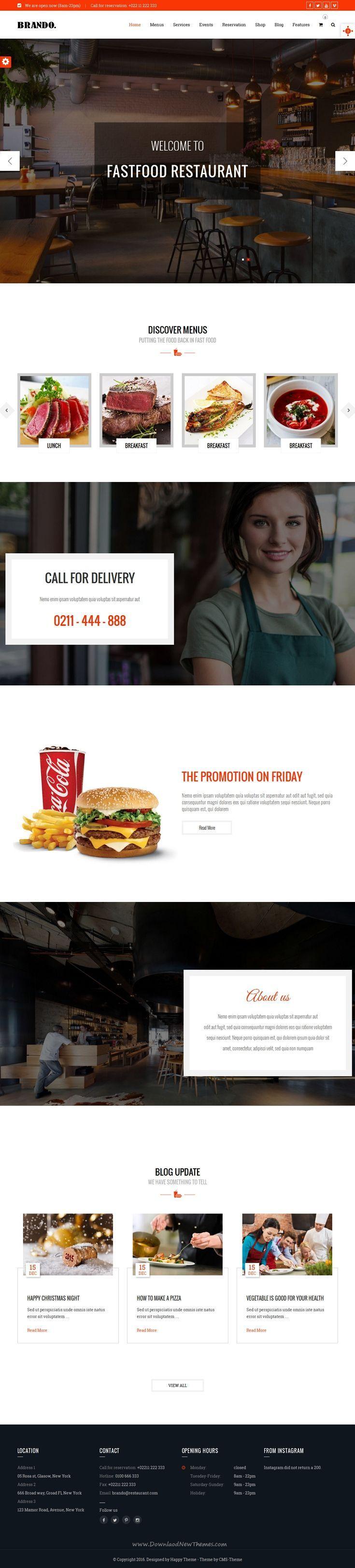 Brando is wonderful #Restaurant, Cafe, #FastFood Responsive #WordPress Theme with Food Menu Builder Download Now.