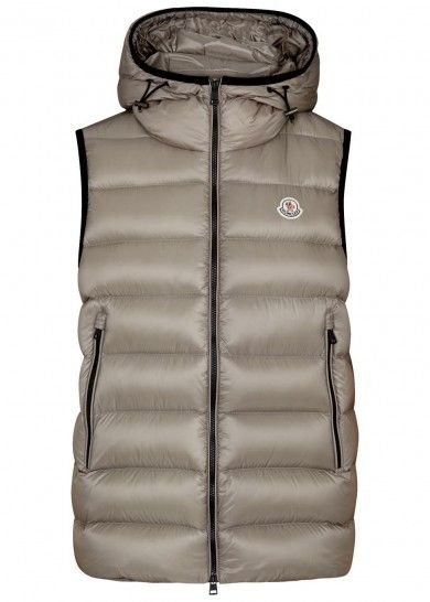 MONCLER RAY GREY QUILTED SHELL GILET – LIGHT GREY