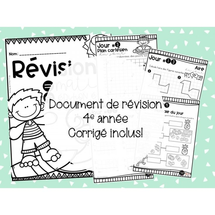 Cahier de révision - 4e année - Mathématique ...