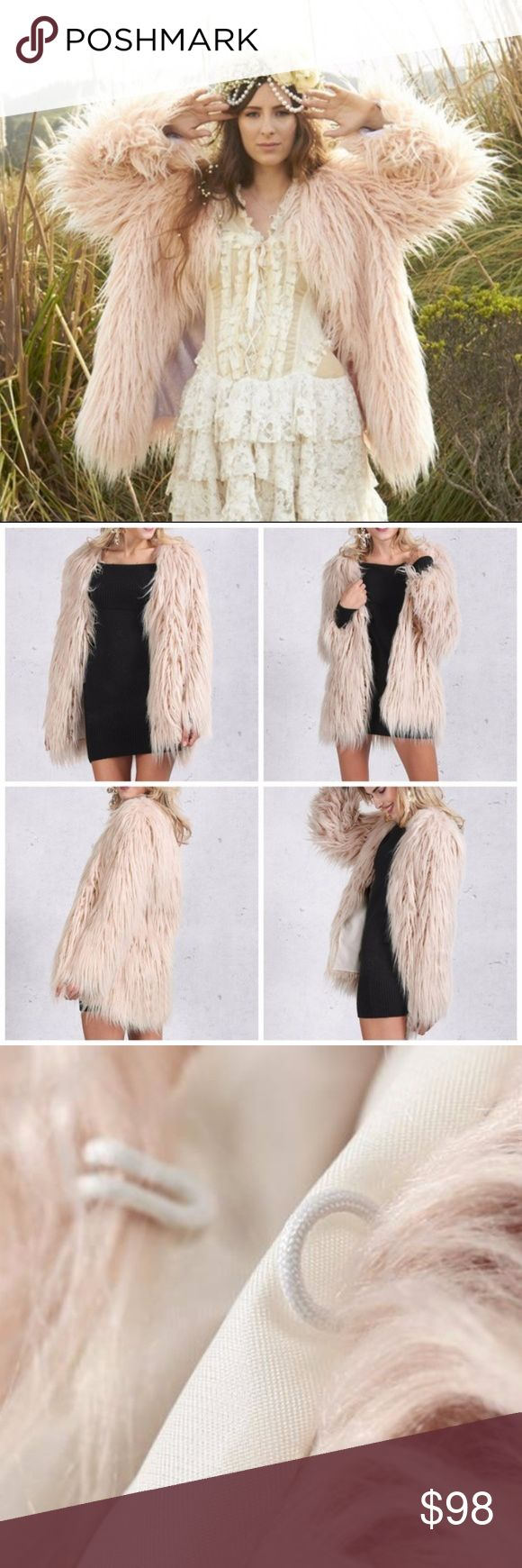 Blush Cream Faux Fur Coat Shaggy Jacket Blush Ivory VNeck Regular fit, lightweight 100% HIGH QUALITY Artificial Faux Fur Fiber Hook Closure  Takes 3-4 days for shipment, goes through a deshedding , brushout and detailed packaging process :) Boutique Items are NWOT direct from makers  TRUE TO SIZE!  If you want a nice oversized fit, order one size up Jackets & Coats