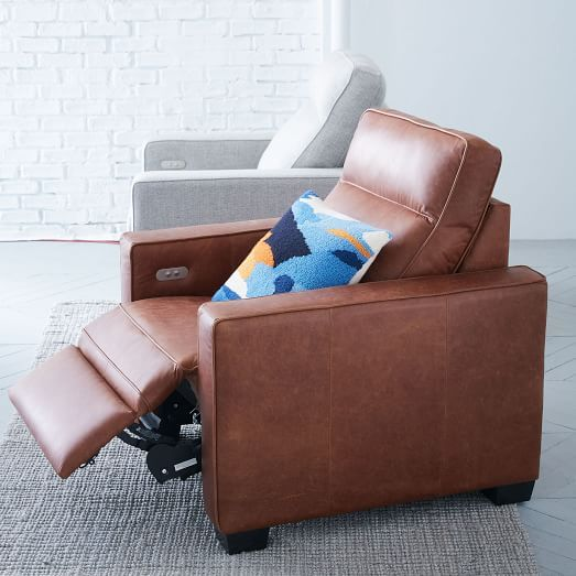 Henry Leather Power Recliner Chair - Tobacco | The clean, strong lines of our Henry® collection make it an instant (and comfortable!) crowd-pleaser. We made a chair for relaxation that's just right for you—recline to your desired angle by releasing the power button, and take comfort to the next level.