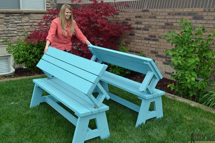 1 table, 2 ways! Download the free plans for this convertible picnic table: https://www.buildsomething.com/plans/P5DAC6A8E2D6C2FA7/ConvertiblePicnicTableandBench
