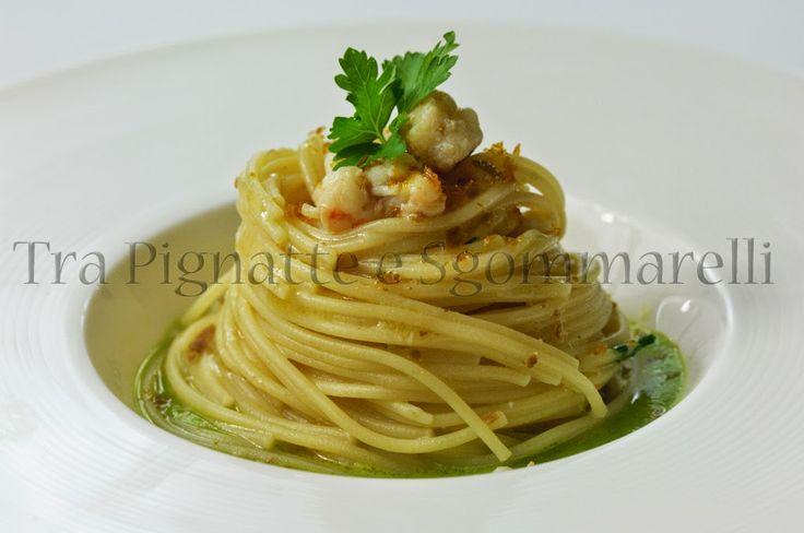 Le mie ricette - Spaghettini scampi e bottarga, con crema di salicornia