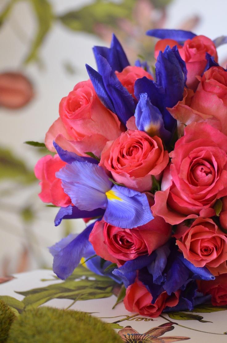bright pink kenya roses and blue iris