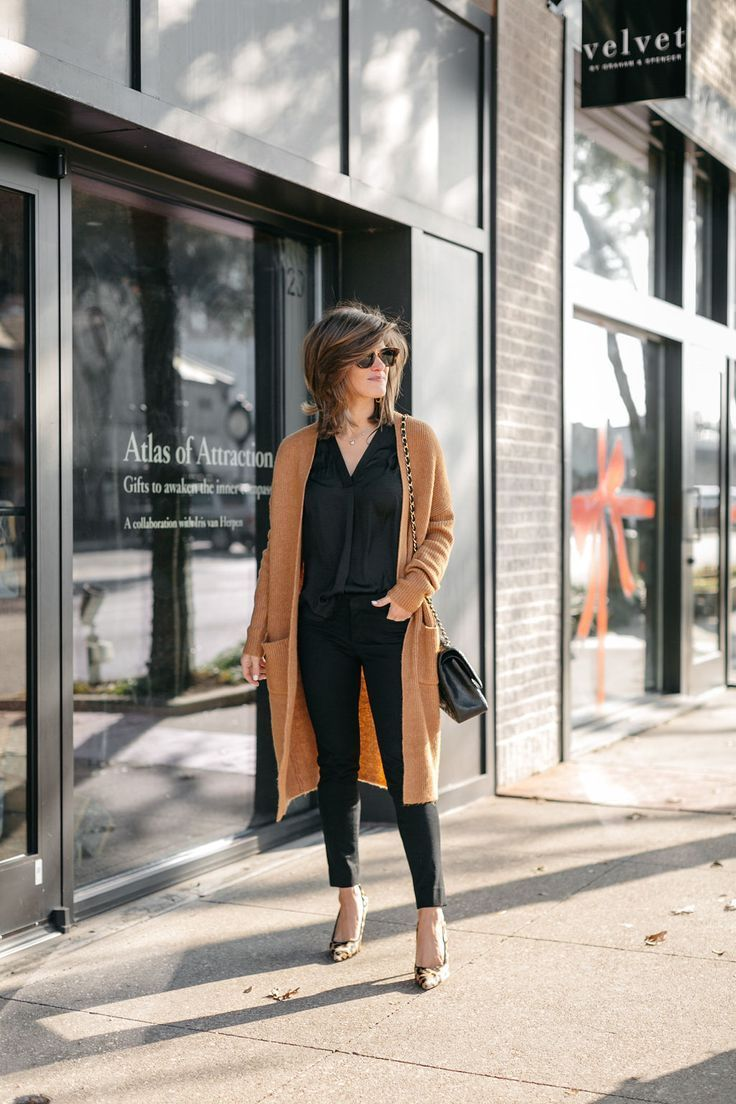 business casual all black outfit long cardigan leopard pumps #style #ootd #Black…