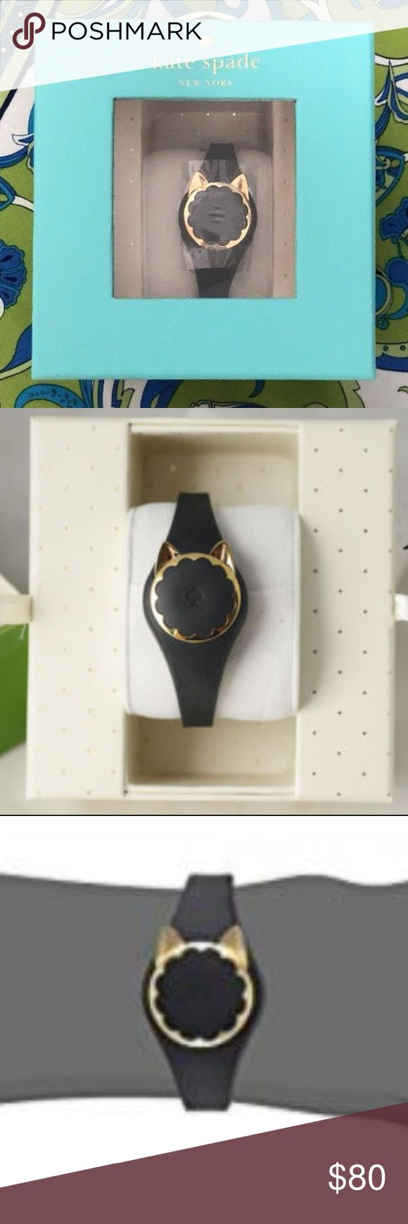 Kate Spade Black Cat Scallop Activity Tracker New in Designer Box Retail $128 Includes Instructions * Battery * Case Back Tool * Quick Start Guide * Warranty Stay active with step tracking dancing counts! & set personal goals, count down the days to life's celebrations & track every wink of beauty sleep Receive LED light notifications control music & take selfies Non-charging, replaceable battery  Gold-tone stainless steel round case Links Automatically to the kate spade New York Connected…