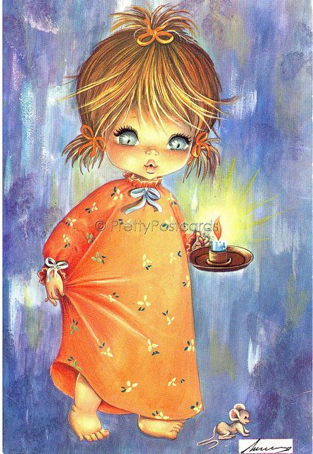 Lets go to Bed - Vintage Postcard of a Big Eyed Girl with her Candle