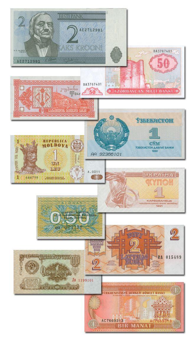 Le banconote degli stati ex Sovietici