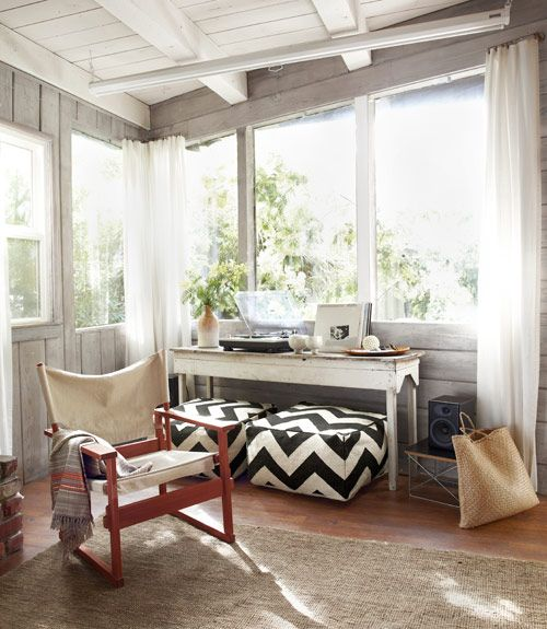 chevron. burlap. natural light.: Spaces, Decor Ideas, Poufs, Sunrooms, Country Living, Rustic Cabins Decor, Small Cabins, West Elm, Sun Rooms