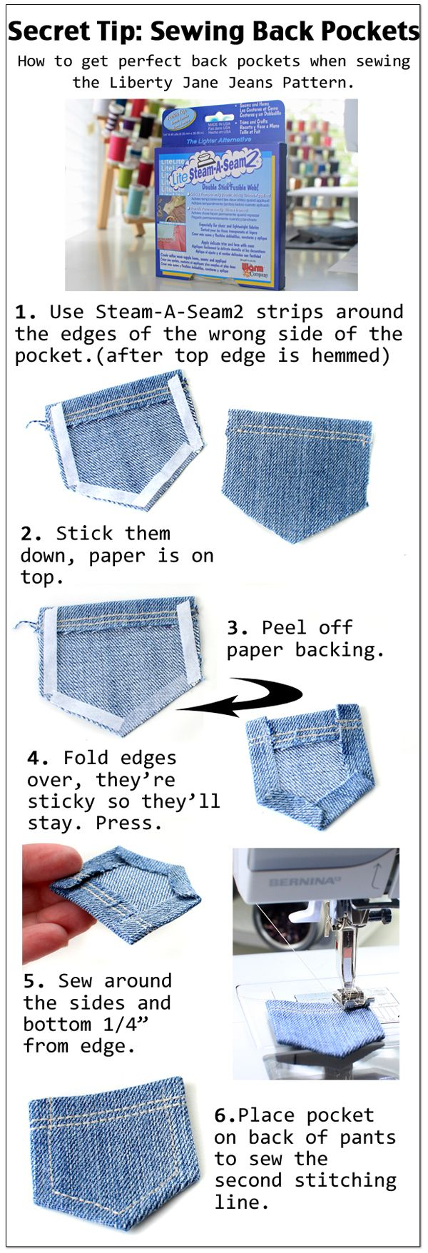 Cinnamon's tips for sewing back pockets onto Liberty Jane Jeans. www.libertyjanepatterns.com