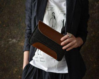 iPad mini 2, iPad mini or iPad mini retina case premium leather flap and letaher pad merino wool felt perfect protection front pocket
