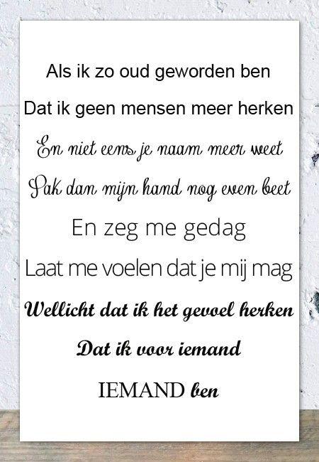 Tegeltjeswijsheid.nl - een uniek presentje - Spreukbord Als ik zo oud geworden ben (wit)