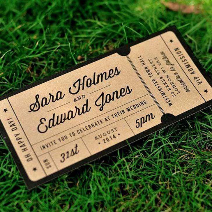movie ticket stub wedding invitation%0A Rustic Recycled Ticket Wedding Invitation    u    Just the Ticket u     Kraft Wedding  Invite Admission Ticket   Destination Wedding   ONE SAMPLE