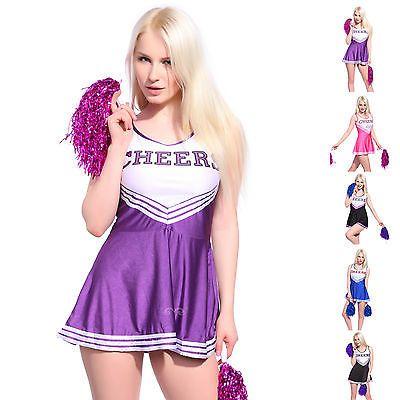 Varsity Cheer School Girl Cheerleader Fancy Dress Up Uniform w/ Pom Poms