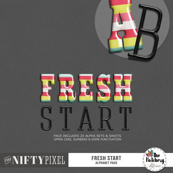 FRESH START | Alpha Pack This pack of alphas includes 2 sets giving you choice and fun combinations. This great typeface is perfect for creating bold and grounded title work. Because these alphas are so versatile they will be suitable for any style or themed page.   DOWNLOAD INCLUDES:  2X Alpha Sets: 1X Rainbow Flair style + 1X Forged iron. Both sets include UPPERCASE ONLY [A-Z + some punctuation] All products are saved at 300ppi for optimum printing quality.